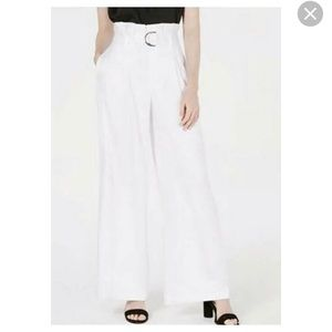 Bar III white paper bag waist pants NWOT